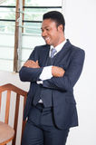 Happy businessman. The businessman is very happy this morning because his bills are paid Stock Photography