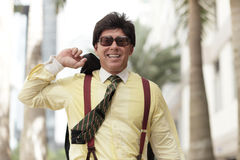 Happy businessman walking Royalty Free Stock Photography