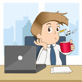 Happy businessman whistling and drink coffee Stock Image