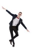 Happy businessman who simulates flight Stock Image