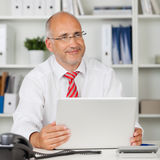 Happy businessman at work royalty free stock images