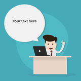 Happy businessman at work,Vector EPS 10. Royalty Free Stock Photo