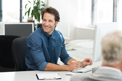 Happy businessman working Stock Photo