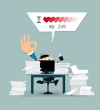 Happy businessman is working hard with text  I love my job  Royalty Free Stock Images