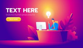 Happy businessman working at his desk and creating a lot of idea bulbs. Business idea concept.  stock illustration