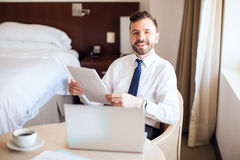 Free Happy Businessman Working On A Business Trip Royalty Free Stock Images - 76108799