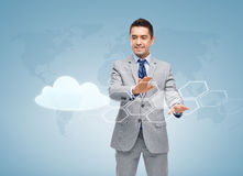Happy businessman working with virtual screens Royalty Free Stock Image