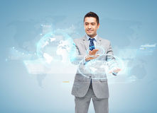 Happy businessman working with virtual screens Royalty Free Stock Photos