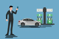 Happy businessmen use his credit card and refuel his car at a clean and eco-gas station. Vector illustration design Stock Image