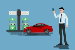 Happy businessmen use his credit card and refuel his car at a clean and eco-gas station. Vector illustration design Stock Photo