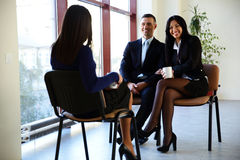 Happy businesspeople discussion Royalty Free Stock Photo