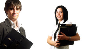 Happy businesspeople holding folders Stock Photography