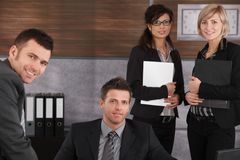 Happy businesspeople at office Stock Photography