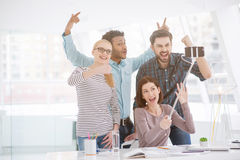 Happy businesspeople in their office royalty free stock photography