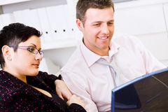 Happy businesspeople working together Royalty Free Stock Images