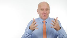 Happy Businessman Image Gesturing and Talking in a Business Meeting stock image