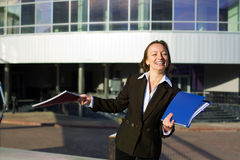 Happy businesswoman at the airport. Royalty Free Stock Photos