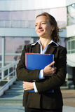 Happy businesswoman at the airport. Stock Image