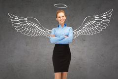 Happy businesswoman with angel wings and nimbus royalty free illustration