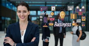 Happy businesswoman with arms crossed standing by business graphics. Digital composite of Happy businesswoman with arms crossed standing by business graphics Stock Photos