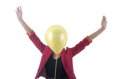 Happy businesswoman with balloon Royalty Free Stock Image