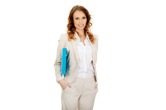 Happy businesswoman with binder. Stock Image