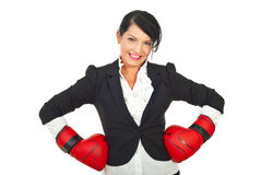 Happy businesswoman with boxing gloves Stock Image