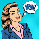 Happy Businesswoman. Business Lady. Surprised Woman Telling Wow. Pop Art. Vector illustration Stock Images
