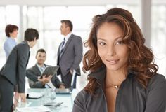 Happy businesswoman on business meeting Stock Image