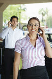 Happy Businesswoman On Call Royalty Free Stock Photography