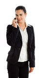 Happy businesswoman calling on phone isolated Royalty Free Stock Photography