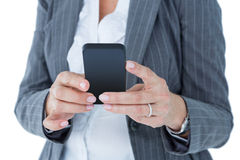 Happy businesswoman calling with smartphone Stock Photography