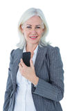 Happy businesswoman calling with smartphone Royalty Free Stock Photo