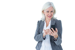 Happy businesswoman calling with smartphone Royalty Free Stock Image