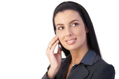 Happy businesswoman with cellphone Stock Images