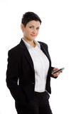 Happy businesswoman with cellphone isolated Royalty Free Stock Images