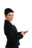 Happy businesswoman with cellphone isolated Royalty Free Stock Photos