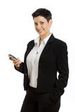 Happy businesswoman with cellphone isolated Stock Image