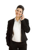 Happy businesswoman with cellphone isolated Royalty Free Stock Photo