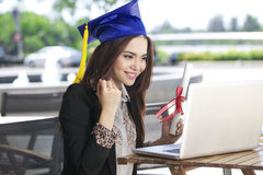 Happy businesswoman chatting and smile with graduation degree Royalty Free Stock Photography