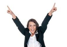Happy businesswoman cheering Stock Photo