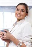 Happy businesswoman at coffee break Royalty Free Stock Photography