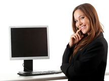 Happy businesswoman with computer  Stock Photo