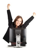 Happy businesswoman with computer and raised arms Royalty Free Stock Photos