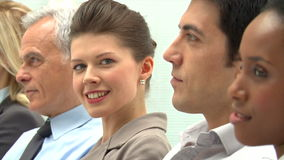 Happy businesswoman at conference stock video footage