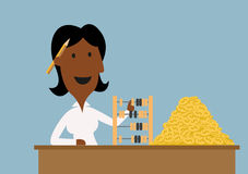 Happy businesswoman count money with abacus. Cartoon happy african american businesswoman using retro wooden abacus to count golden dollar coins on table, for Stock Photo