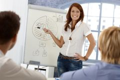Happy businesswoman demonstrating Stock Image