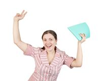 Happy businesswoman with documents Royalty Free Stock Photography