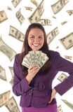 Happy businesswoman on dollars background Royalty Free Stock Image