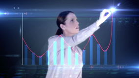 Happy businesswoman drawing hologram graph on blackbackground stock video footage